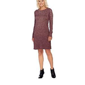 LOGO by Lori Goldstein sweater dress. Mauve/ maple